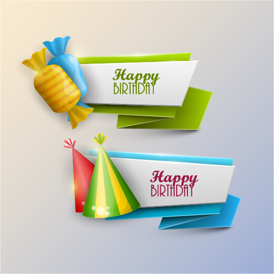 Happy Birthday Banner With Candy Vector Free Download