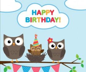 Happy birthday card and cute owls vector 01