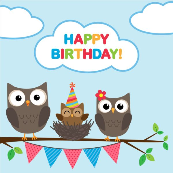Happy birthday card and cute owls vector 01