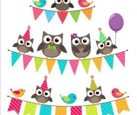 Happy birthday card and cute owls vector 02