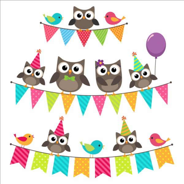 Happy Birthday Card And Cute Owls Vector 02 Free Download