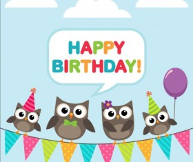 Happy birthday card and cute owls vector 03
