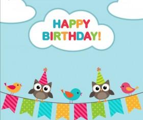 Happy birthday card and cute owls vector 04