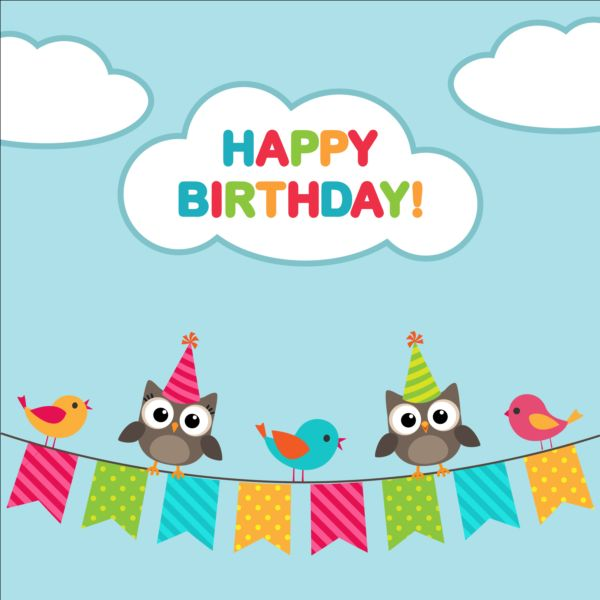 Happy birthday card and cute owls vector 04 Vector Animal free