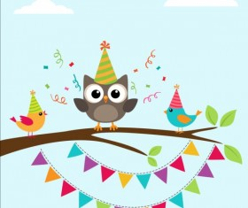 Happy birthday card and cute owls vector 05
