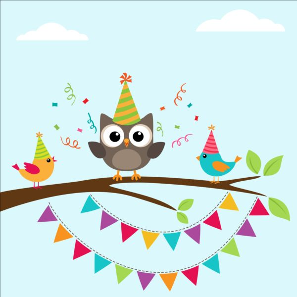Happy birthday card and cute owls vector 05 vector animal free happy birthday card and cute owls vector 05 bookmarktalkfo Images
