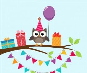 Happy birthday card and cute owls vector 06
