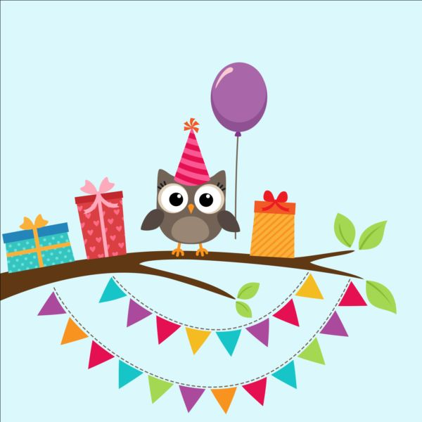 Happy Birthday Card And Cute Owls Vector 06 Free Download