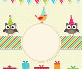 Happy birthday card and cute owls vector 07