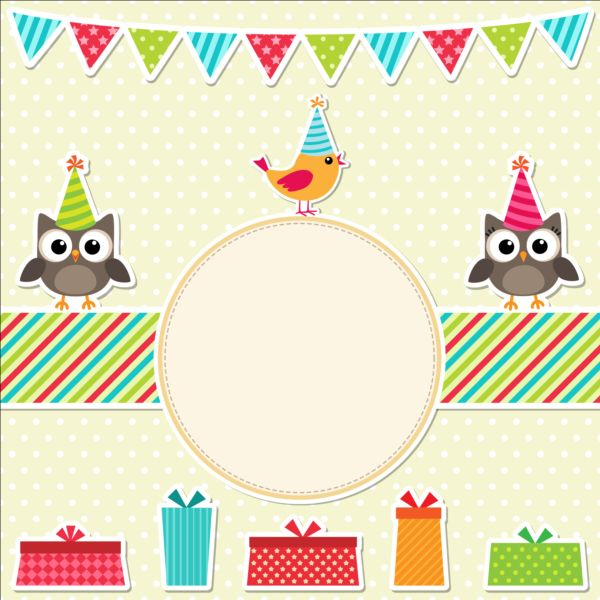 Happy birthday card and cute owls vector 07 Vector Animal – Happy Birthday Card Cute