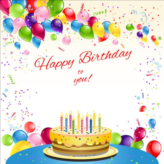 Happy Birthday Card With Balloon And Cake Vector
