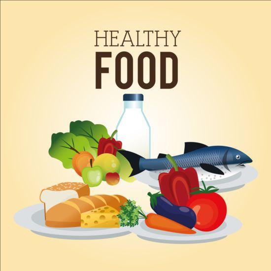 Healthy food illustration design vector 05 free download