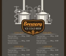 Ice clod beer menu vintage vector