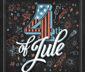 Independence day design elements with blackboard vectors 01
