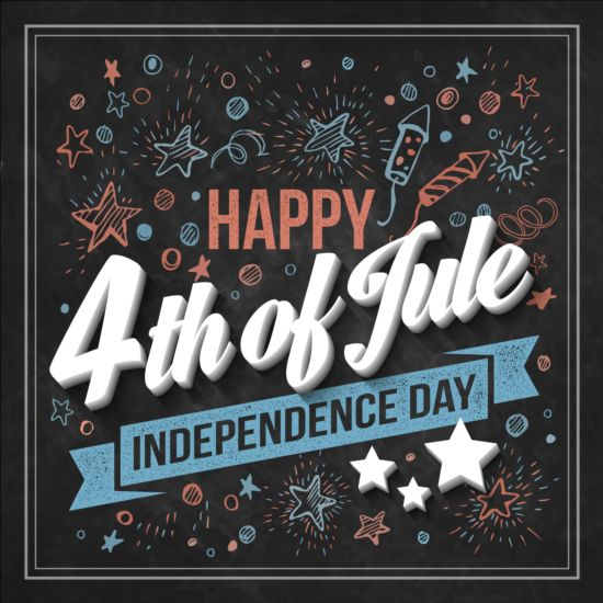 Independence day design elements with blackboard vectors 02