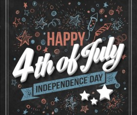 Independence day design elements with blackboard vectors 03