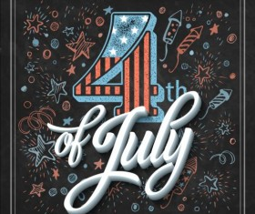 Independence day design elements with blackboard vectors 04