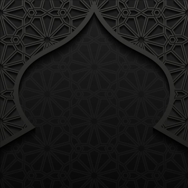Islamic mosque with black background vector 02