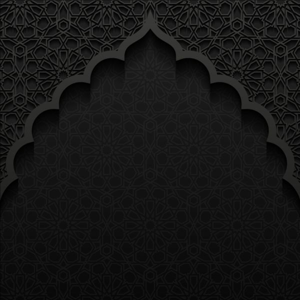 Islamic Mosque With Black Background Vector 03 Free Download