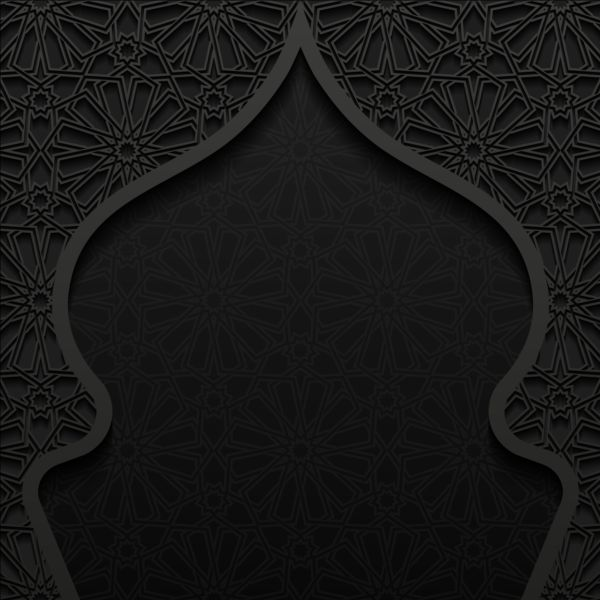 Islamic mosque with black background vector 04