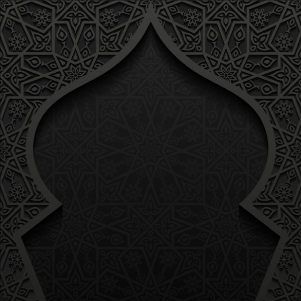 Islamic mosque with black background vector 05