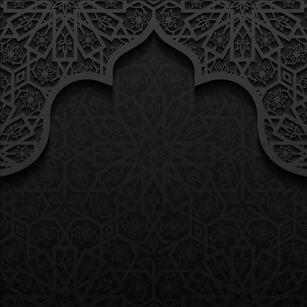 Islamic mosque with black background vector 06