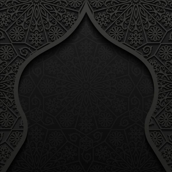 Islamic Mosque With Black Background Vector 08 Vector