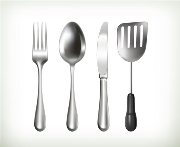 Knife and fork with spoon shovel vector