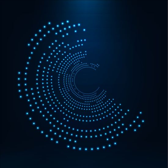 Awesome Light Dots With Blue Tech Background Vector 09