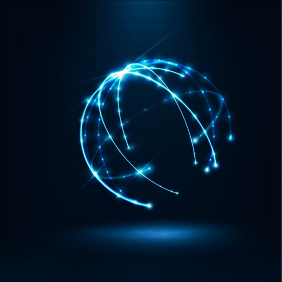 Light lines with sphere background vector 01