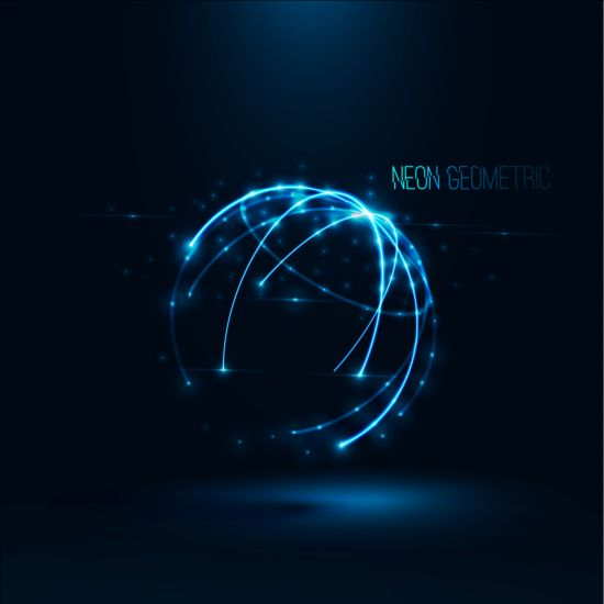 Light lines with sphere background vector 02