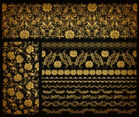 Luxury golden ornaments with seamless borders vector 03