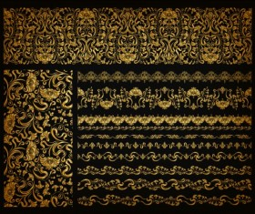 Luxury golden ornaments with seamless borders vector 08