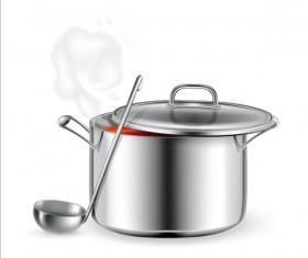 Metal cooking pot vector material