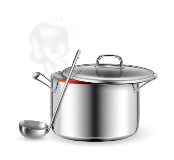Metal cooking pot vector material