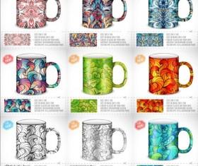 Mug with floral decorativevector set