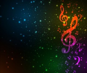 Music note with star light background vector