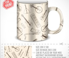 Musical Instruments with mug vector