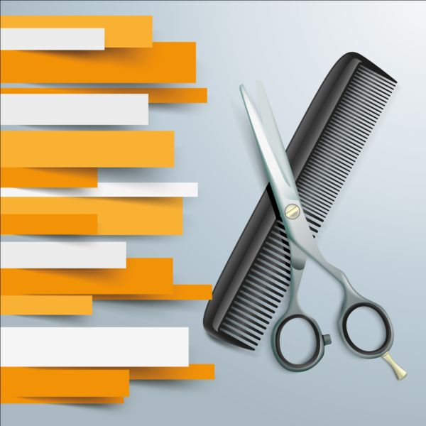 Paper Lines with scissors comb background vector