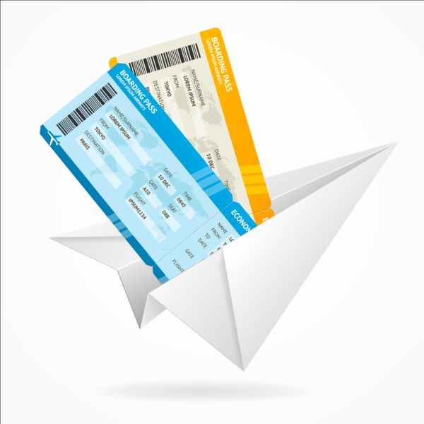 Paper airplane with airline tickets vector