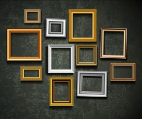 Photo frame and vintage wall vector 01