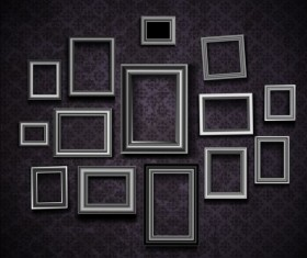 Photo frame and vintage wall vector 02