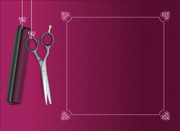 Purple background with scissors comb vector 03