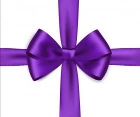 Purple ribbon bows vector 01