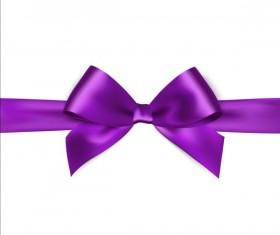 Purple ribbon bows vector 02