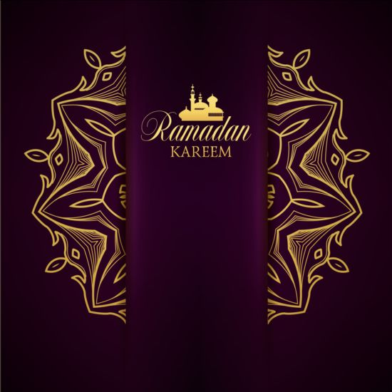 Ramadan kareem purple backgrounds vector set 14