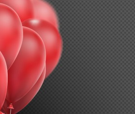 Realistic red balloons vector illustration 09