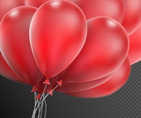 Realistic red balloons vector illustration 11