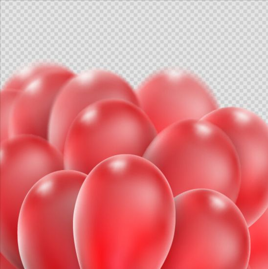 Realistic red balloons vector illustration 12