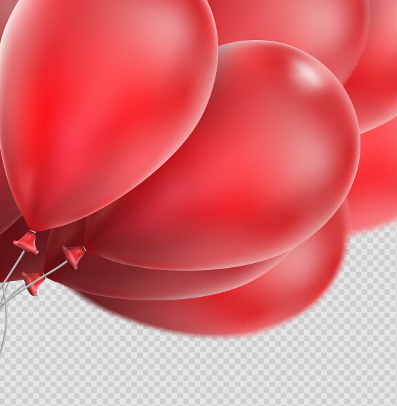 Realistic red balloons vector illustration 15